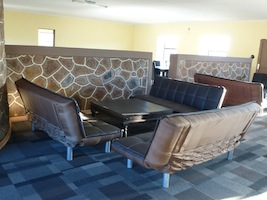 Couches in the restaurant/bar